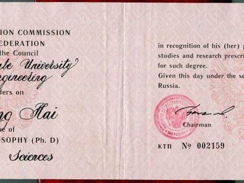 Bằng cấp & Chứng chỉ của Tiến sĩ LƯU HỒNG HẢI